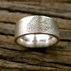 Custom Made Fingerprint Wedding Band for him.