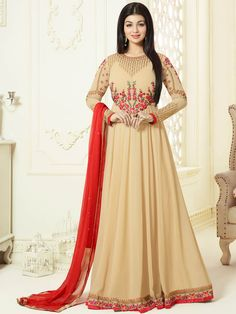 Courteous beige ceremonial wear georgette anarkali suit. Having fabric georgette, santoon and nazneen. The beautiful embroidery work on the attire adds a sign of beauty statement to your look. Comes with matching bottom and dupatta. #mydesiwear #onlineshop #salwarsuits #womenstyle #womenfashion #festivewear #partywear #fashion #ethnicwear #ceremonywear #weddingfashion #weddingseason #indianwedding #weddingbeauty #weddingsuits #silk #weddingfestival #WeddingTrends #stylewedding #designersuits