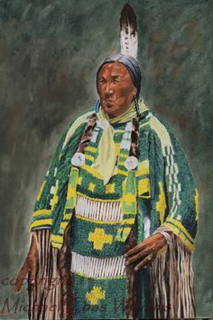 Female Blackfoot Native American Elder in by michaelchaswilliams, subject name and date unknown.