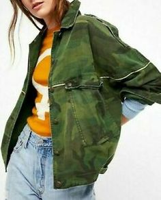 Unique Fashion, Boho Fashion, People Brand, Denim And Lace, Free People Jacket, Army Green, Military Jacket, Crop Tops, Coat