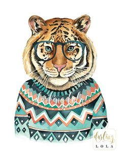 Tiger Art Print Animal Art Hipster Animal Etsy - Smarty Pants Tiger Art Print This Is A Print Of My Original Watercolor Illustration Print Details Available In Xx Inches This Is A High Quality Art Print Of My Original Watercolor Pain Tiger Illustration, Watercolor Illustration, Portrait Cartoon, Tiger Art, Watercolor Animals, Watercolor Painting, Arte Pop, Illustrations, Dog Portraits
