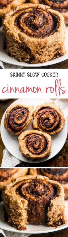 Skinny Slow Cooker Cinnamon Rolls -- my family called these the BEST they've ever had! Just 112 calories but they don't taste healthy at all!