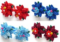Kanzashi fabric flowers. Set of 2 ponytail by JuLVa on Etsy
