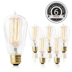 LED Vintage Edison Light Bulbs 4w Dimmable Retro Decorative Farmhouse Light Bulb Clear ST64 Antique E27 Squirrel Cage Spiral Flexible Filament Light Warm Yellow 2200K,Pack of 2