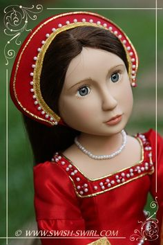 Tudor gown for Matilda, A Girl All for Time doll, by Swish  Swirl.