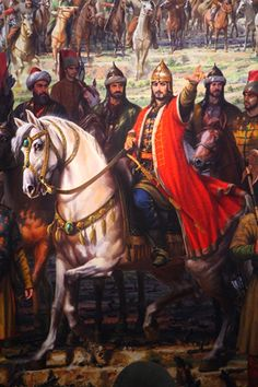 Fatih Sultan Mehmet Han, İstanbul'un Fethi Osmanlı İmparatorluğu Fatih Sultan Mehmet, The conquest of İstanbul in Ottoman Empire Islamic Paintings, Old Paintings, Fall Of Constantinople, Foto Blog, Ancient Persian, Turkish Art, Historical Art, Ottoman Empire, Horse Pictures