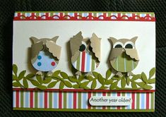 Owl punch birthday card. Way too cute!