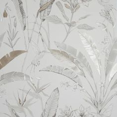 Floral Jungle Neutral Wallpaper - Arthouse - 908404 Neutral Wallpaper, Room Wallpaper, Chimney Breast, Tropical Leaves, Home Art, How To Draw Hands, Things To Come, Living Room, Floral