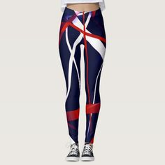 Red And White Stripes, Navy And White, Red And Blue, Blue Leggings, Printed Leggings, Custom Leggings, Sports Luxe, Sport Wear, Leggings Fashion