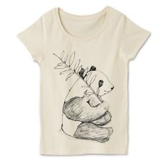 パンダのラフスケッチTシャツ   デザインTシャツ通販 T-SHIRTS TRINITY(Tシャツトリニティ) 鉛筆でスケッチブックにそのまま描いたイラストをそのままTシャツへ!鉛筆の粗いタッチがお洒落でアートなデザインTシャツ。オリジナルデザインギフトにも使える動物Tシャツです。
