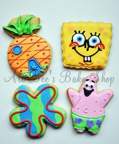 Sponge Bob Cookies Spongebob Birthday Party, 6th Birthday Parties, Birthday Boys, Birthday Stuff, Birthday Ideas, Cute Cookies, Cupcake Cookies, Cupcakes, Fancy Cookies