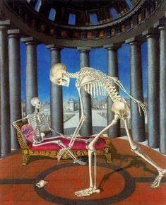 Le Squelette a la Coquille, 1944 by Paul Delvaux (Belgian 1897 - 1994)