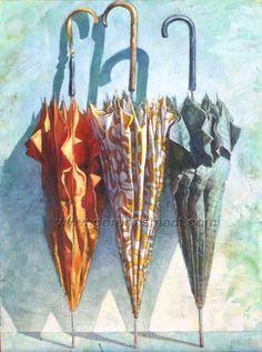 """""""Umbrellas"""" Gordon Smedt 65"""" x 48"""" oil on canvas"""