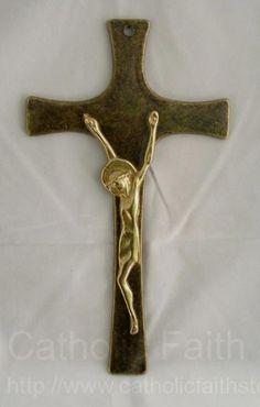 Antique Brass Crucifix with Shiny Brass Corpus -8 .5 inch
