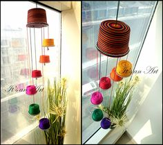 33 Best Ideas For Flowers Art Painting Artists Mobiles Cup Crafts, Diy Crafts For Gifts, Diy Home Crafts, Hobbies And Crafts, Plastic Bottle Crafts, Plastic Recycling, Hanging Pom Poms, Diwali Lantern, Paper Craft Work