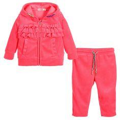 Billieblush Baby Girls Neon Pink Velour Tracksuit at Childrensalon.com