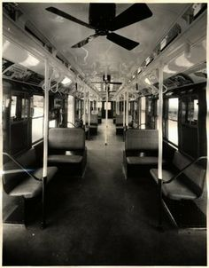 Interior of a New York City subway car, circa 1937
