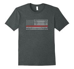 Firefighter Thin Red Line T Shirt Patriotic American Flag