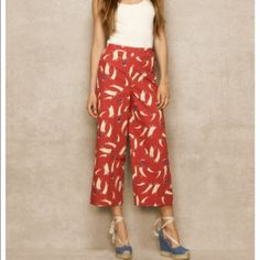{Ralph Lauren} Red Sailboat Print Cropped Pant The pants you'll want to wear all summer long. New with tags. Blue label -Ralph Lauren Ralph Lauren Pants