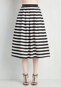 Chic-ing of Which Skirt - Stripes, Pleats, Nautical, 50s, Full, Summer, Fall, Woven, Better, Long, White, Black, Casual, High Rise