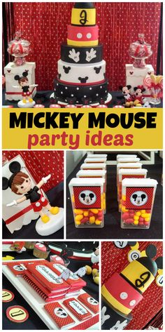 A red, yellow, white and black Mickey Mouse boy birthday party with amazing decorations and treats! Love the tick-tac idea Mickey Mouse Theme Party, Fiesta Mickey Mouse, Mickey Mouse Clubhouse Party, Mickey Mouse Clubhouse Birthday, Mickey Mouse Birthday, Party Fiesta, Festa Party, 1st Birthday Parties, Boy Birthday