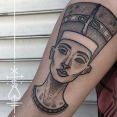 """nefertiti for d'nise! thanks, again! #nefertiti #dotwork #dots #egyptian #queen…"