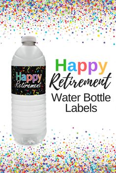 These colorful Retirement Water Bottle Labels are the perfect refreshment decorations for your upcoming happy retirement event. Retirement Party Centerpieces, Retirement Party Cakes, Military Retirement Parties, Teacher Retirement Parties, Retirement Party Gifts, Retirement Celebration, Retirement Party Decorations, Happy Retirement, Retirement Survival Kit
