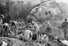 2.) U.S. troops begin their day in a daze after a third night of fierce fighting against North Vietnamese forces.