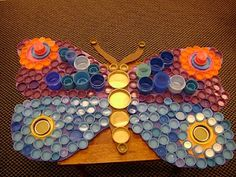 butterfly made with plastic bottle caps