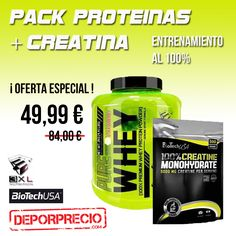 ¡¡¡Comienza el  #gimnasio en #septiembre !!! Aprovéchalo al 100% 💪 con el nuevo pack #volumen y #recuperación. ¡¡¡INCREÍBLE OFERTA!!! Visítanos-------> http://www.deporprecio.com/es/1162-pack-proteinas-pure-whey-protein-3xl-2kg-creatina-monohidratada-biotech-usa-500g.html #Gimnasio #fitness #crossfit #proteinas #creatina #packnutricion