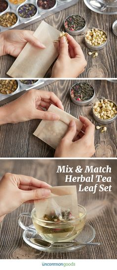 Create a custom tea blend with this kit that includes nine herbs and three varieties of organic green tea. Tea Recipes, Smoothie Recipes, Tea Display, Blended Coffee, Tea Blends, Herbal Tea, Food Packaging, Have Time, Herbalism
