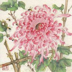 """Autumn Scent"" - Original Fine Art for Sale - © Jinghua Gao Dalia Botanical Illustration, Botanical Prints, Illustration Art, Illustrations, Chinese Painting, Chinese Art, Flower Images, Flower Art, Japanese Art Modern"