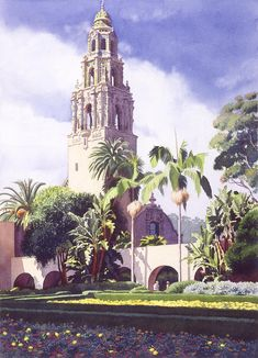 Bell Tower In Balboa Park Painting