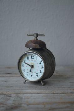 Tiny Antique Alarm Clock by housewarming101 on Etsy