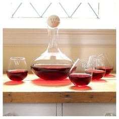 Cathy's Concepts 5pc Monogram Wine Decanter & Tipsy Tasters Set Z, Variation Parent