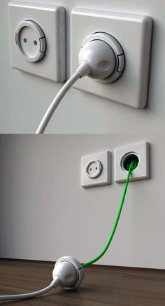 Power points with built-in extension cords. Genius? Genius.