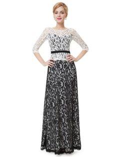Shop Color Block Crochet Lace 3/4 Sleeve Belt Waist Maxi Dress from choies.com .Free shipping Worldwide.$88.99