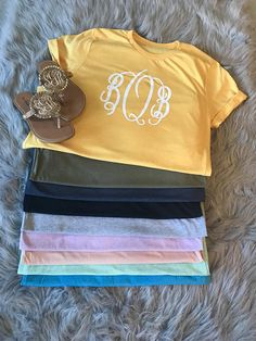 Monogram T Shirt - Monogram Tee - Monogram TShirt - Monogrammed T-Shirt - Monogram Shirt - Monogrammed Shirt - Monogrammed Tee Monogram T Shirts, Monogram Initials, Monogram Clothing, Football Onesie, Circle Font, Monogrammed Purses, Football Outfits, Bathing Suit Covers, Swimsuit Cover Ups