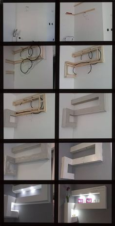 Modern geometric drywall shelves!