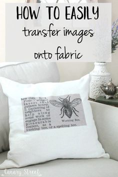 How To Easily Transfer Images Onto Fabric - Mod podge - How to easily transfer images onto fabric- canarystreetcraft…. Make these easy DIY throw pillows - Diy Throws, Diy Throw Pillows, Stenciled Pillows, Diy Pillow Covers, Couch Pillows, Sewing Crafts, Sewing Projects, Sewing Tips, Sewing Tutorials