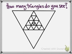 How many triangles do you see? 1st Grade Math, Grade 2, First Grade, Maths Starters, Anchor Activities, Year 1 Maths, Math Stem, Fast Finishers, Teachers Corner