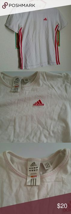 White and pink stripe Adidas famale t-shirt Good condition Adidas Tops Tees - Short Sleeve