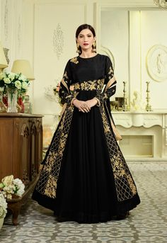 1cc6d5008da1 Buy Stunning Black Designer Partywear Embroidered Mulberry Silk Abaya Style  Anarkali Suit By Saree Exotica Online
