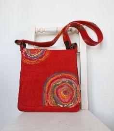 Designer felt Bag, hippie style purse, urban bag, messenger, students bag, shoulder bag, handbag. Filztasche. Feltstream