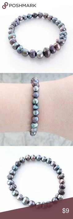 Iridescent freshwater pearl stretch bracelet CLOSET CLOSING CLEARANCE!  All prices are firm; no additional offers accepted.  I'm earning no profits, just liquidating everything before moving abroad.  I'm listing as many items as I can as quickly as I'm able, but things are selling fast, so grab your faves while you can!  Bracelet stretches to fit most wrists. Jewelry Bracelets
