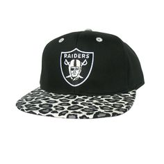 182067dc5ac ... RAIDERS Snapback Hat - NFL Hat - Custom Snapback with Black   Grey  Leopard Print Fabric   Original Black Leather - LIMITED EDITION  Amazon.co. uk  Sports ...