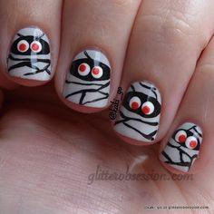 Halloween nail art, mummy nail art