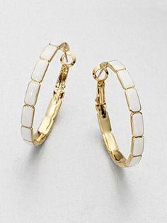 Kate Spade enamel piece hoop earrings.