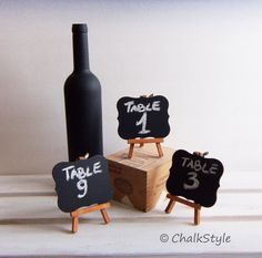 Set Of 3 Chalkboards Wedding Table Numbers Wedding Table Decor, Mini Scroll…