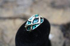 enamel sterling silver ring // blue , dark blue , eye // special design , unique enamel ring